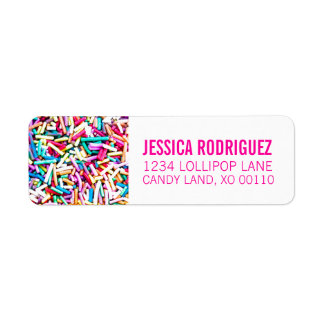 Candy Theme RETURN ADDRESS LABEL Sprinkles