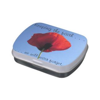 Candy Tin - Red Poppy Blue Sky KEEPING FAITH