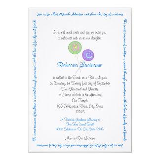 Candy Treasures Bat Mitzvah Blue 13 Cm X 18 Cm Invitation Card
