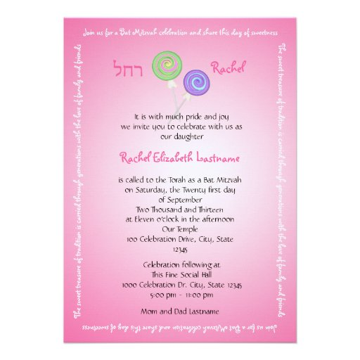 Candy Treasures Bat Mitzvah Personalized Announcement
