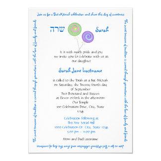 Candy Treasures Text Blue Bat Mitzvah 13 Cm X 18 Cm Invitation Card