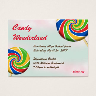 Candy wonderland custom logo prom admission ticket