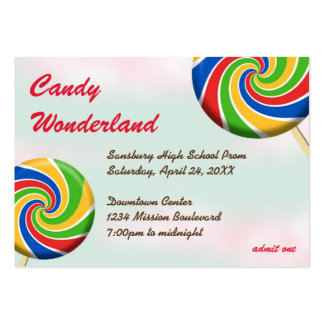 Candy wonderland custom logo prom admission ticket business card templates