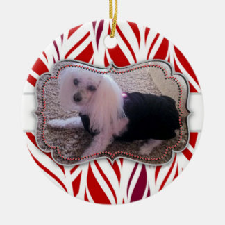 Candycane Custom Pet Photo Memorial Round Ceramic Decoration