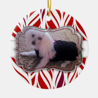 Candycane Custom Pet Photo Memorial Round Ceramic Decoration