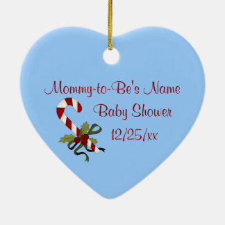 CandyCane Heart Blue Keepsake Baby Shower Ornament