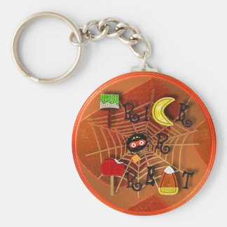 candycorn trick or treat basic round button key ring