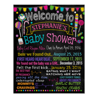 Candyland Baby Shower Party chalkboard sign Poster