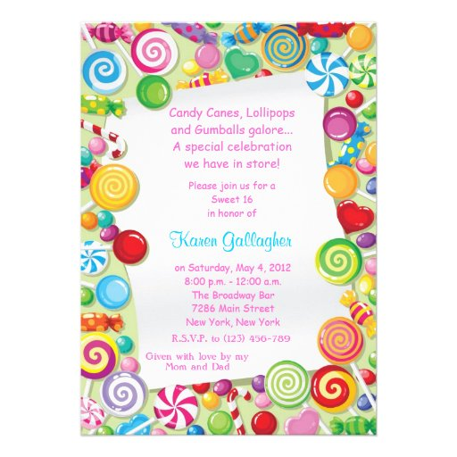 Candyland candy Theme Sweet 16 Invite Invitations