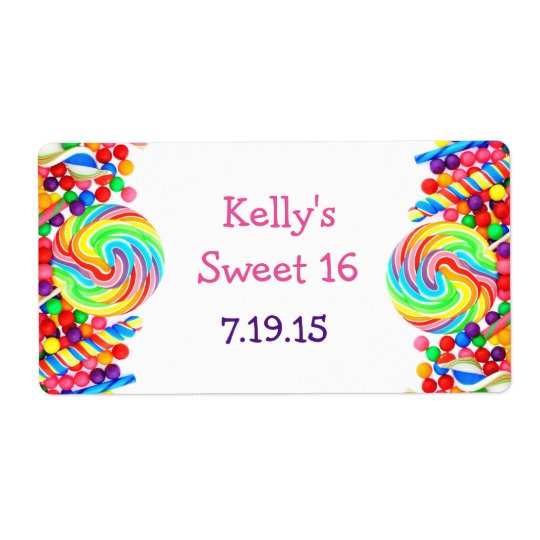 Candyland Theme Sweet 16 Custom Favour Label Shipping Label