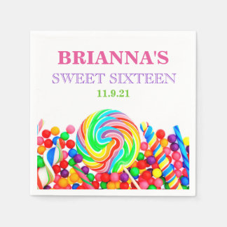 Candyland Theme Sweet 16 Personalized Napkin Disposable Napkin