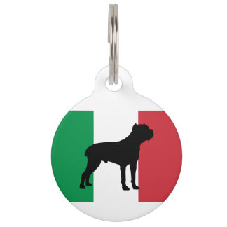 cane corso silhouette flag Italy.png Pet ID Tag