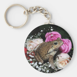 Cane toad in flowers key ring