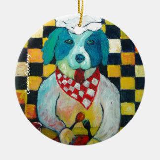 Canine Cooking Ceramic Ornament