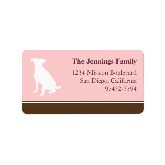 Canine dog pet silhouette pink return or mailing address label