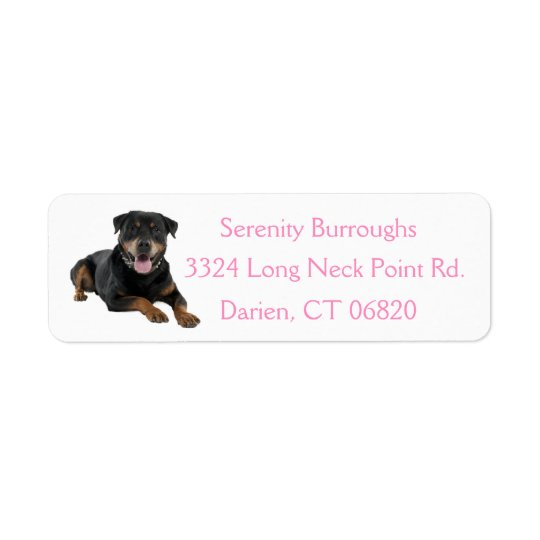 Canine Rottweiler Puppy Dog Pink Address Label