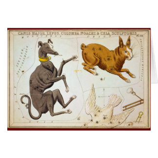 Canis Major, Lepus, Columba Noachi & Cela Sculptor Card