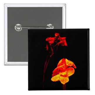 Canna Lilies on Black 15 Cm Square Badge