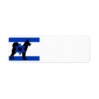 cannan dog silhouette flag_of_israel return address label