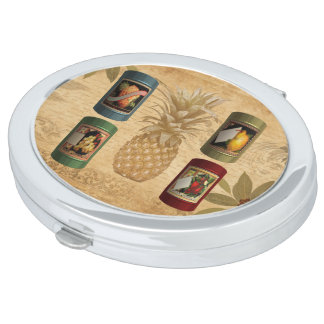 Canned fruit pineapple compact mirrors