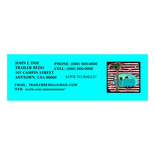 CANNED HAM VINTAGE TRAVEL TRAILERS PROFILE CARDS! BUSINESS CARD TEMPLATE