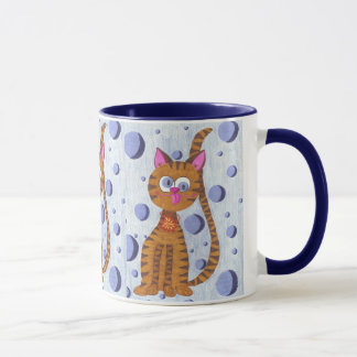 Cannelle the cat blue mug