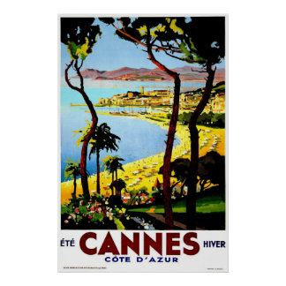 Cannes, France Vintage Travel Poster