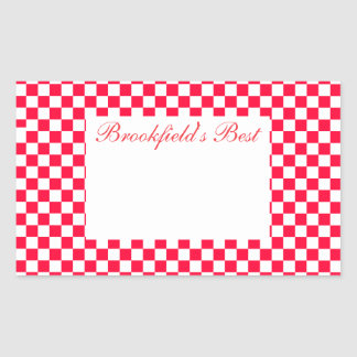 Canning Label- Large- Red Gingham Rectangular Sticker