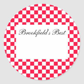 Canning Label--Red Gingham Classic Round Sticker