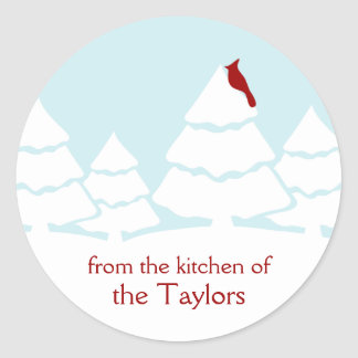 Canning Personalized Cardinal Christmas Stickers