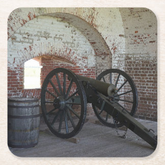 Cannon at Fort Pulaski Square Paper Coaster