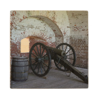 Cannon at Fort Pulaski Wood Coaster