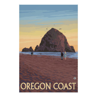 Cannon Beach, Oregon - Haystack Rock Poster