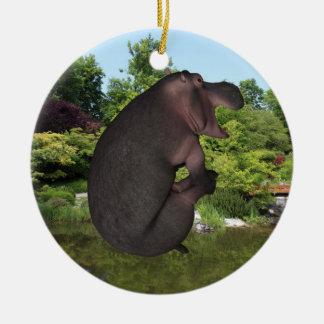 Cannonball Hippo Round Ceramic Decoration