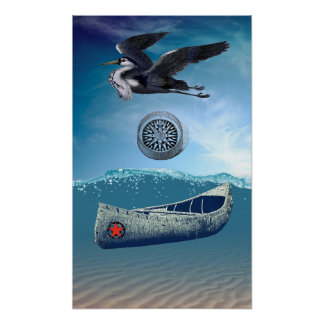 Canoe Adrift with Heron And Compass Poster No 1