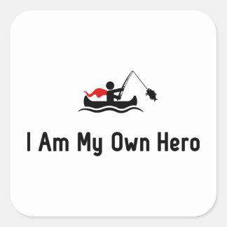 Canoe Fishing Hero Square Sticker