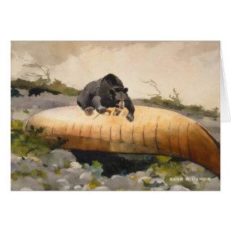 Canoe on a Beach with Bear Vintage Art Card