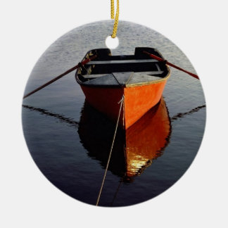Canoe on a River Ceramic Ornament