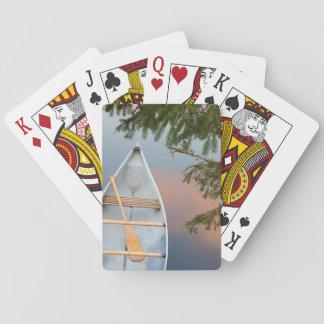 Canoe on lake at sunset, Canada Playing Cards