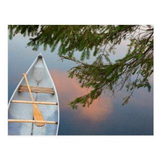 Canoe on lake at sunset, Canada Postcard