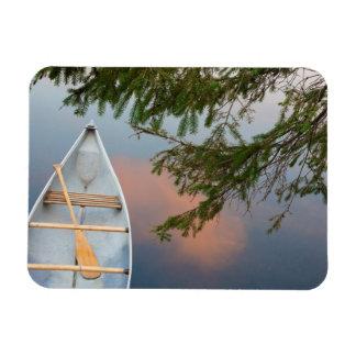 Canoe on lake at sunset, Canada Rectangular Photo Magnet