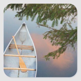 Canoe on lake at sunset, Canada Square Sticker