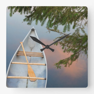 Canoe on lake at sunset, Canada Square Wall Clock