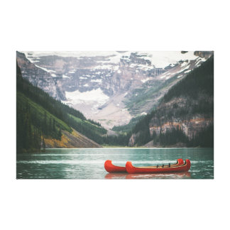 Canoe on the Water | Mountain | Sky Canvas Print