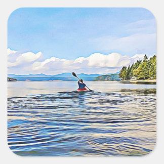 Canoe or Kayak on Lake Stickers