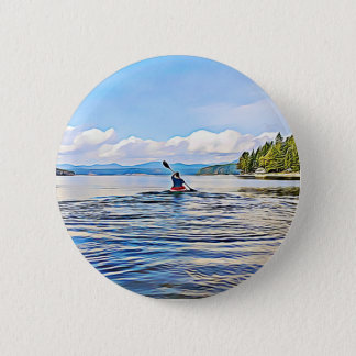 CAnoe or Kayaker on Lake and Mountains Background 6 Cm Round Badge