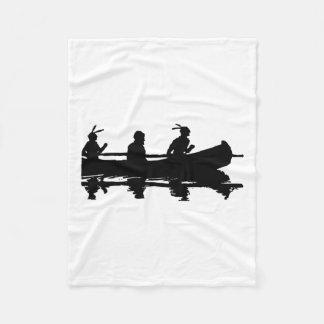 Canoe Silhouette Fleece Blanket