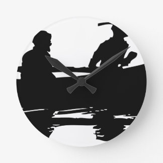 Canoe Silhouette Round Clock