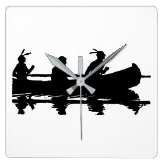 Canoe Silhouette Square Wall Clock