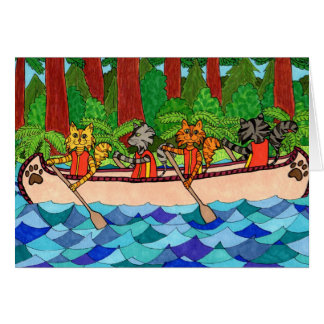 Canoeing Cats Card